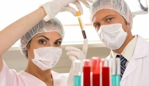 Пробирки с кровью и лаборанты