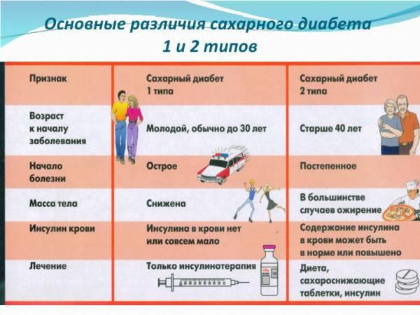 Различия 1 и 2 типа диабета